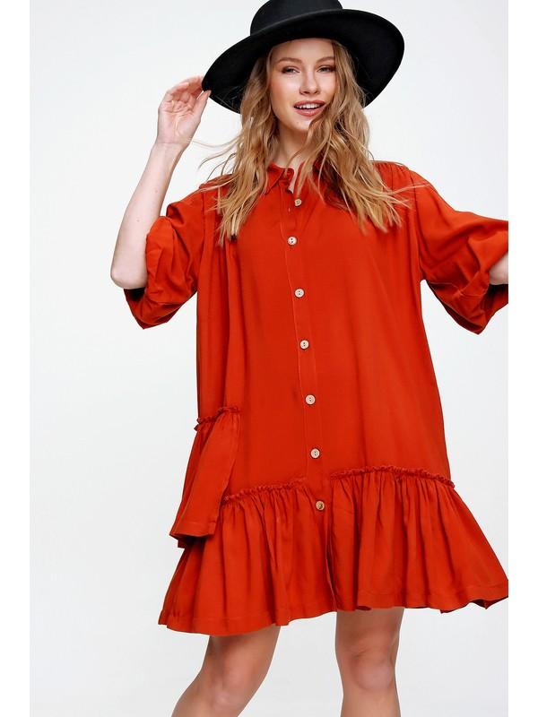 Pinkpark Kadın Yeşil Kolu Lastikli Eteği Fırfırlı Dokuma Elbise SMD-X5943