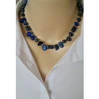Dizayn Cam Mavi Lapis Lazuli Doğal Taş Tasarım Kolye