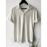 Marrakech Erkek Beyaz Desenli Pamuklu Yazlık Kısa Kollu Gömlek