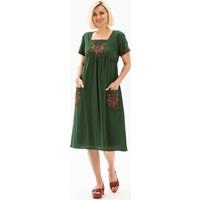 Eliş Şile Bezi Melek Şile Bezi Elbise Yeşil