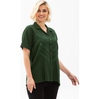 Eliş Şile Bezi Kısa Kol Şile Bezi Oyalı Verev Bluz Yeşil