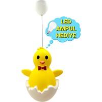Uyumamy Kırmızı Papyon 3D Emoji Civciv Sarı Bebek Abajuru Çocuk Abajuru Baby Shower Bebek Odası Çocuk Odası Aydınlatma