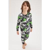 DeFacto Erkek Çocuk Kamuflaj Desenli Uzun Kol Pijama Takımı