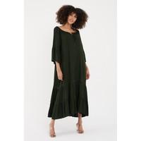 Vale Woman Valewoman Volanlı Dantel Şerit Detaylı Uzun Viskon Kadın Elbise   Etnik Elbise  