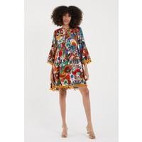 Vale Woman Valewoman Desenli Ponpon Detaylı Viskon Kadın Elbise | Etnik Elbise |