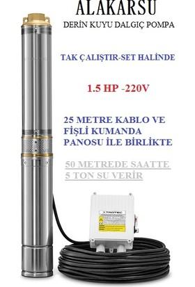 Akarsu Italyan Teknoloji Derin Kuyu Dalgıç Pompa (25 Metre Kablo ve Pano Dahil)
