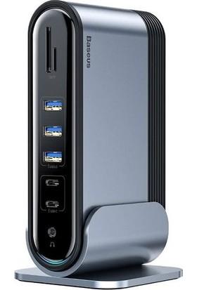 Baseus Working Station 17IN Type-C To HDMI-RJ45-USB-SD-TF-3.5MM+ŞARJ Aleti CAHUB-DG0G