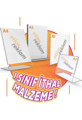 Etias Reklam A7 T Tipi Yatay Masaüstü Şeffaf Pleksi Föylük Broşürlük