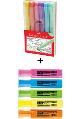Faber-Castell ve Kraf 11 Renk Fosforlu Kalem Seti