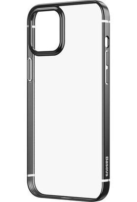 Baseus Shining Serisi Apple Apple iPhone 12 - Apple iPhone 12 Pro 6.1 Metalik Parlak Çerçeveli Silikon Kılıf-Siyah