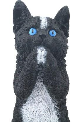 Burdan Eve Dekoratif Polyester Siyah Kedi Biblo Figür Burdan Eve
