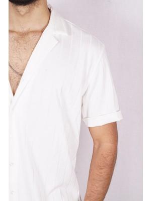Marrakech Erkek Oversize Jakarlı Kısa Kol Gömlek