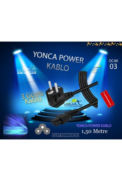 Moonkip Laptop Adaptörü Şarj Elektrik Kablosu 3'lü - Yonca Power Kablosu - Güç Aktarım ve Iletim Kablosu