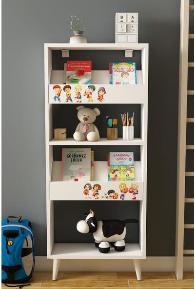 Bayz Montessori Çocuk Odası Ayaklı Kitaplık Yatay Raf Monilya