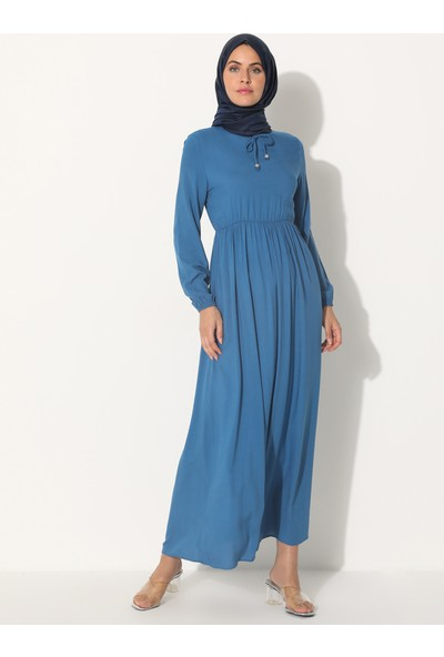 Ecesun Kol Uçları Lastikli Elbise Indigo