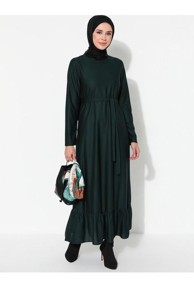 Ecesun Volanlı Elbise Zümrüt Yeşili