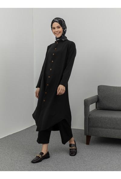 Ecesun Boydan Düğmeli Tunik Siyah