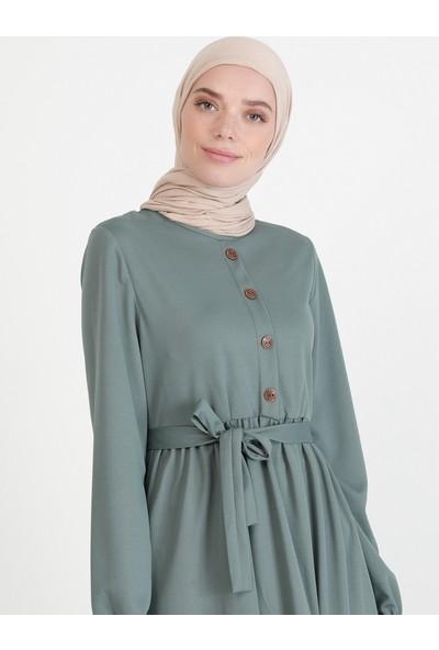 Ecesun Düğme Detaylı Elbise Mint