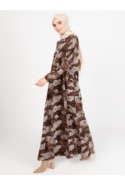 Ecesun Desenli Elbise Kahverengi