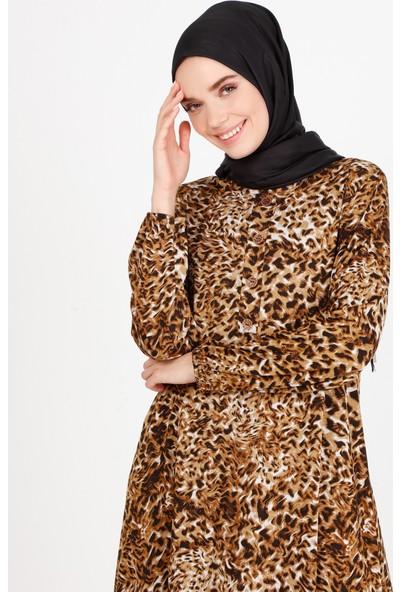 Ecesun Leopar Desenli Elbise Sarı