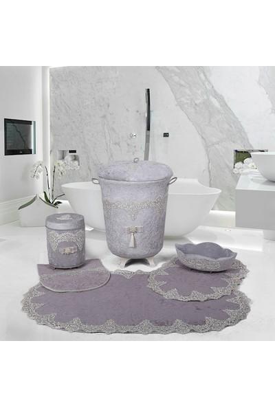 Bonny Home Luxury Gri Dantelli Banyo Kirli Çamaşır Sepeti Seti + Banyo Paspası Seti