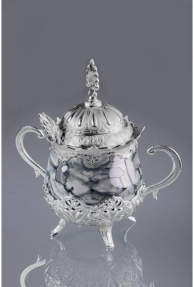 Busem Porselenli Yuvarlak Sekerlik, Gümüş-Nikel 16X16 cm
