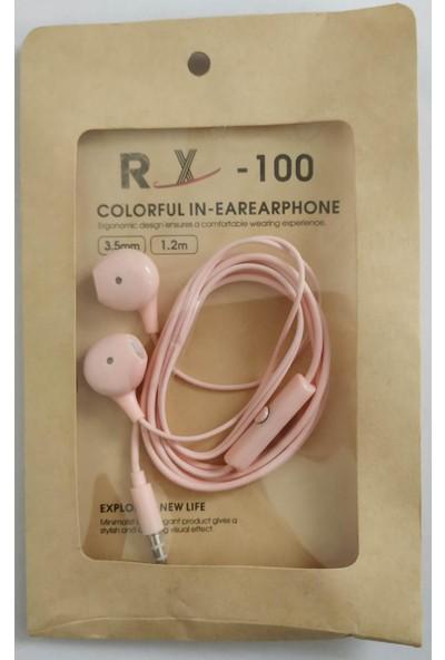 Turgut Ticaret Rx -100 Iphone Tipi Renkli Kablolu Kulaklık Pembe