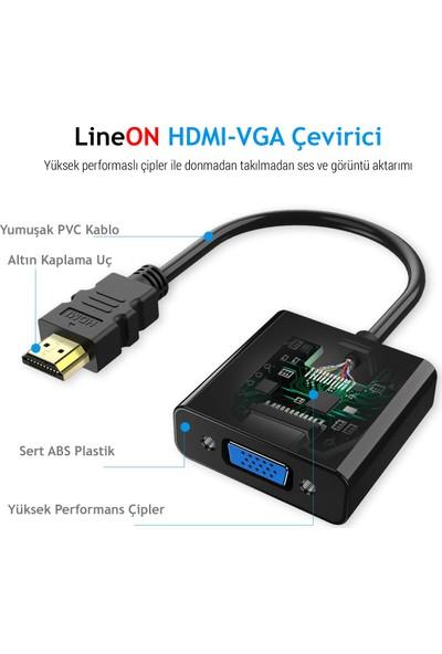 Lineon HDMI To VGA Çevirici Aparat (Ses ve USB Çıkışlı)
