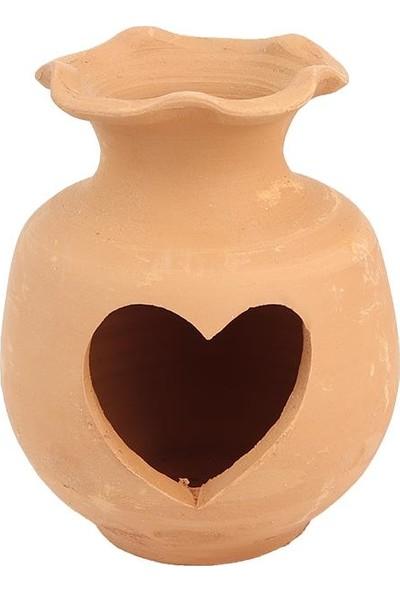 Mogan Çömlekçilik Toprak El Yapımı Kalpli Aşk Yuvası Akvaryumluk