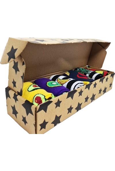 Boldy Çorap Kutusu-6'lı Meyveler Çorap Kutusu-Unisex Nakışlı Çorap Kutusu-Renkli Çorap Kutusu 6'lı