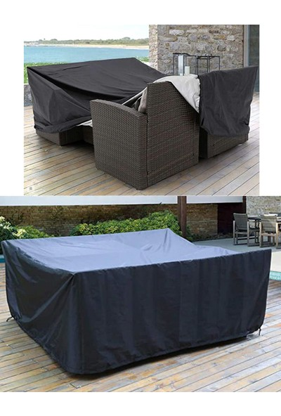 Coverplus Bahçe Mobilya Koruma Örtüsü Su Geçirmez 200 x 150 x 80 cm - Siyah