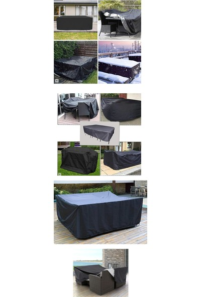 Coverplus Bahçe Mobilya Koruma Örtüsü Su Geçirmez 200 x 200 x 80 cm - Siyah