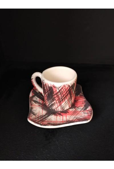 Ege Marketim Kırmızı Mira Seramik Kahve Fincan Takımı
