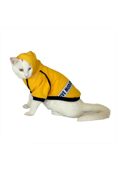Kemique Yellow Native Modern Kapsonlu Sweatshirt Kedi Süeteri Kedi Kıyafeti