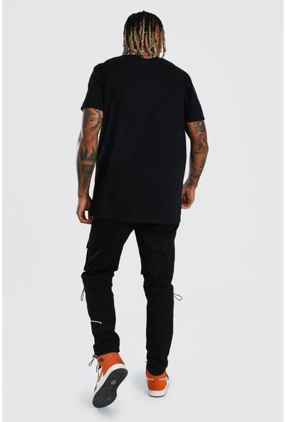 Siyah Baskılı Oversize T-Shirt 1KXE1-44795-02