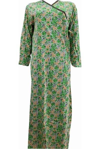 Hazal Namaz Elbisesi Yeşil Çiçek Desen Bağlamalı Model