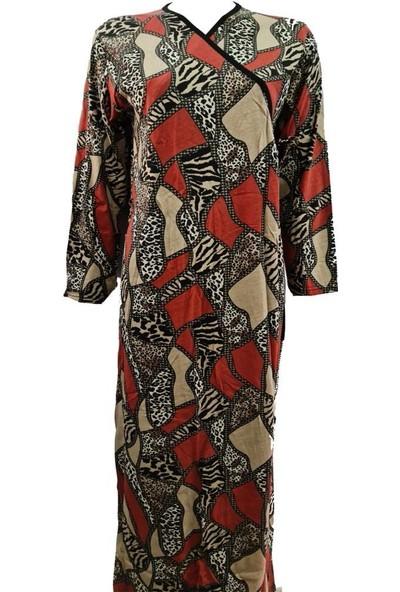 Hazal Namaz Elbisesi Kahverenkli Desen Bağlamalı Model