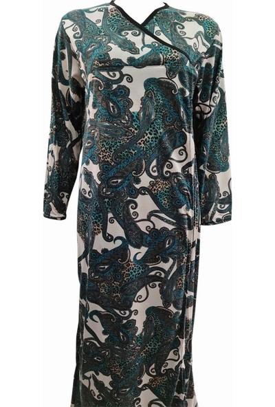 Hazal Namaz Elbisesi Yeşil Şal Çiçek Desen Bağlamalı Model