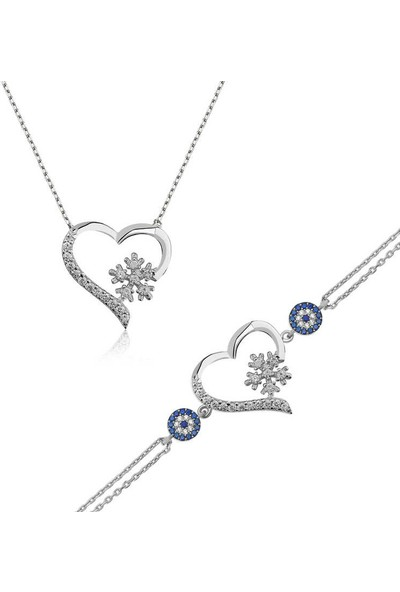 Armagano Gümüş Kalp Kar Tanesi Kadın Set