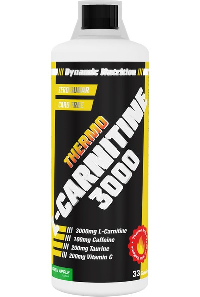 Dynamic Nutrition Dynamic Thermo L-Carnitine 3000 Mg 1000 ml Yeşil Elma Aromalı