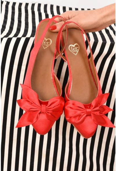 Fox Shoes Kırmızı Saten Kumaş Kadın Babet H726809004