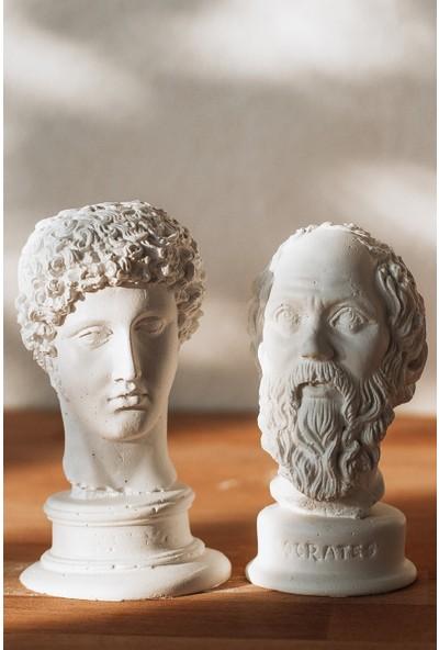 Elver Atölye Beyaz Hermes + Socrates 2'li Heykel Büst