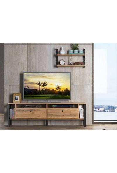Wood'n Love Eos Duvar Raflı-Kitaplıklı Metal Ayaklı Tv Ünitesi - Atlantik Çam / Siyah