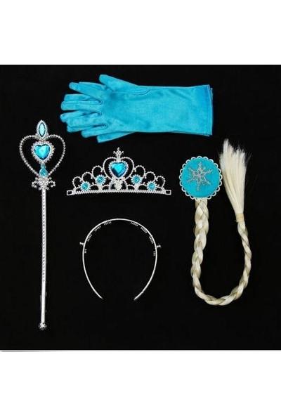 Frozen Elsa Karlar Ülkesi 4 Parça Örgü Saç Taç Asa ve Eldiven