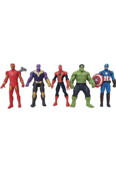 Elifeshop ES2165 Avengers Yenilmezler Aksiyon Figür Ironman Spiderman Thanos Captain America Hulk Oyuncak Seti 15 Cm.