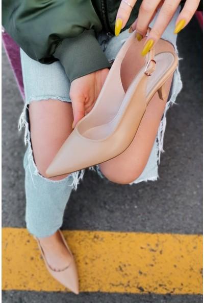 Cara Deri Sivri Uçlu Arkası Açık Kemerli Nude Alçak Topuklu Ayakkabı