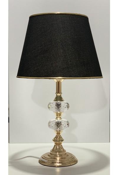 Furkan Kristal Küp Abajur Gold Siyah Şapka FRK-45A