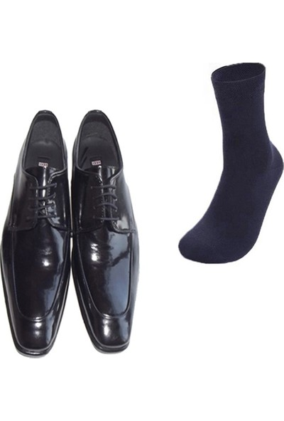 Eray Kundura Klasik Siyah Düz Erkek Ayakkabısı ve Gabriel Najdorf Organic Socks Bambu Lacivert Çorap