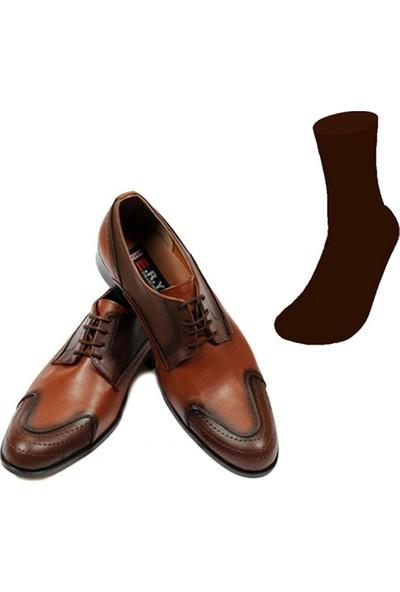 Eray Kundura Klasik Taba Erkek Ayakkabısı ve Gabriel Najdorf Organic Socks Bambu Kahverengi Çorap