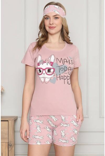 Akbeniz Kadın %100 Pamuk Penye Kısa Kol Şortlu Pijama Takım 4321